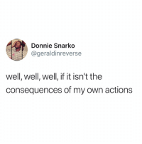 Funny, Life, and Own: Donnie Snarko  @geraldinreverse  well, well, well, if it isn't the  consequences of my own actions Story of my damn life