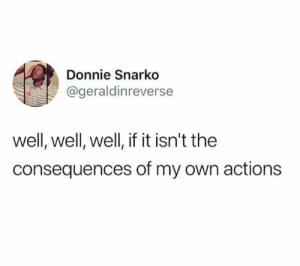 Dank, Memes, and Target: Donnie Snarko  @geraldinreverse  well, well, well, if it isn't the  consequences of my own actions meirl by abaxtastic MORE MEMES