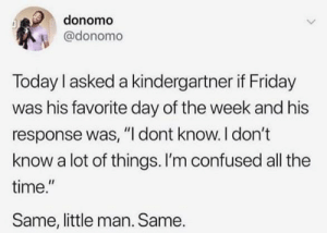"Confused, Friday, and Time: donomo  @donomo  Today I asked a kindergartner if Friday  was his favorite day of the week and his  response was, ""I dont know. I don't  know a lot of things. I'm confused all the  time.""  Same, little man. Same. me irl"