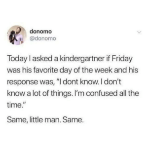 """(credit: @donomo/twitter): donomo  @donomo  Today I asked a kindergartner if Friday  was his favorite day of the week and his  response was, """"I dont know.I don't  know a lot of things. I'm confused all the  time.""""  Same, little man. Same. (credit: @donomo/twitter)"""