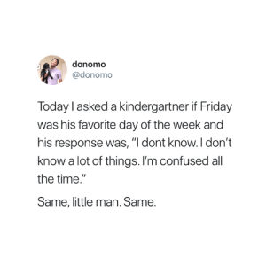 """Same 😂: donomo  @donomo  Today l asked a kindergartner if Friday  was his favorite day of the week and  his response was, """"I dont know.I don't  know a lot of things. I'm confused all  the time  Same, little man. Same. Same 😂"""