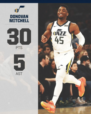 30 points in just 3 quarters for Donovan Mitchell 💪: DONOVAN  MITCHELL  45  PTS  19  AST 30 points in just 3 quarters for Donovan Mitchell 💪