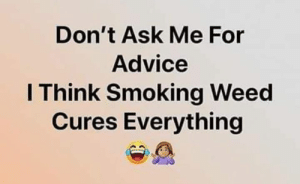 Advice, Memes, and Smoking: Don't Ask Me For  Advice  I Think Smoking Weed  Cures Everything