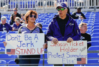 """Memes, Nfl, and National Anthem: Dont Be A  Season Ticket  en  STANDPHolder  Holder ct  """"D+ l.  il t )test Somewhere  15  Se At NFL games across the country today, many fans aren't afraid to share their pro-National Anthem views."""