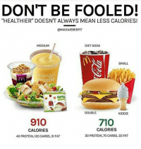 "Memes, Protein, and Soda: DONT BE FOOLED!  ""HEALTHIER"" DOESNT ALWAYS MEAN LESS CALORIES!  @MAXWEBERFIT  MEDIUM  DIET SODA  SMALL  mango  neapple  Siices  DOUBLE  KIDDIE  910  710  CALORIES  CALORIES  40 PROTEIN, 120 CARBS, 31 FAT  30 PROTEIN, 70 CARBS, 33 FAT"