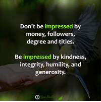 Memes, Money, and Integrity: Don't be impressed by  money, followers,  degree and titles.  Be  impressed by kindness  integrity, humility, and  generosity. <3 ✨🧚‍♀️✨🧚‍♀️