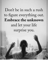 Don't be in such a rush to figure everything out. Embrace the unknown and let your life surprise you. powerofpositivity: Don't be in such a rush  to figure everything out.  Embrace the unknown  and let your life  surprise you Don't be in such a rush to figure everything out. Embrace the unknown and let your life surprise you. powerofpositivity