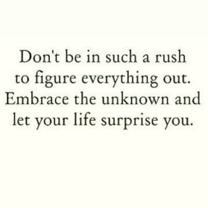 https://t.co/CsAglllQys: Don't be in such a rush  to figure everything out.  Embrace the unknown and  let your life surprise you. https://t.co/CsAglllQys
