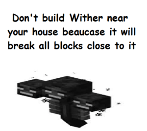 Break, House, and Will: Don't build Wither near  your house beaucase it will  break all blocks close to it Don't do this