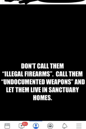 "Head, Live, and Today: DON'T CALL THEM  ""ILLEGAL FIREARMS"". CALL THEM  ""UNDOCUMENTED WEAPONS"" AND  LET THEM LIVE IN SANCTUARY  HOMES. My eyes rolled so far back into my head.... Grandmas cousin shared this little truth nugget with us today."