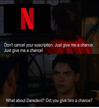 Daredevil, Angry, and Him: Don't cancel your suscription. Just give me a chance  Just give me a chance!  What about Daredevil? Did you give him a chance? angry face