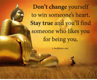 Memes, True, and Heart: Don't change yourself  to win someone's heart.  Stay true and you'll find  someone who likes you  for being you  e-buddhism com