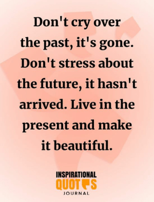 Beautiful, Future, and Memes: Don't cry over  the past, it's gone.  Don't stress about  the future, it hasn't  arrived. Live in the  present and make  it beautiful.  INSPIRATIONAL  QUOT S  JOURNAL don't cry
