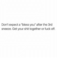 "Memes, Shit, and Fuck: Don't expect a ""bless you"" after the 3rd  sneeze. Get your shit together or fuck off. Just f*ck off"