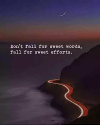 Fall: Don't fall for sweet words,  fall for sweet efforts.