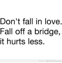 Frenzy: Don't fall in love  Fall off a bridge,  it hurts less  Enjoy More Quotes frenzy.com
