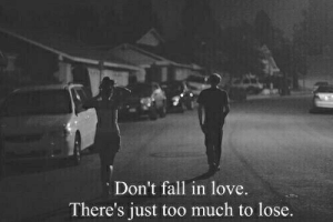 Fall, Love, and Too Much: Don't fall in love.  There's just too much to lose