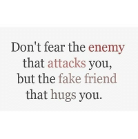 Fake, Http, and Fear: Don't fear the enemy  that attacks you,  but the fake friend  that hugs you. http://iglovequotes.net/