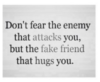 Fake, Fear, and Friend: Don't fear the enemy  that attacks you,  but the fake friend  that hugs you.