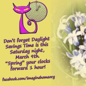 "Daylight Savings Time, Facebook, and Go to Sleep: Don't forget Daylight  Savings Time is this  Saturday night,  March q  ""Spring"" your clocks  forward 1 hour  facebook.com/imaginehomeorg Don't forget to ""spring forward"" before you go to sleep tonight!  Yaaaay!  ~noelle~"