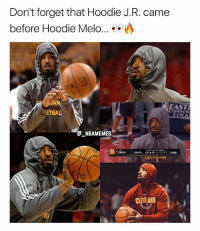 Facts 🔥😂 - Follow @_nbamemes._: Don't forget that Hoodie J.R. came  before Hoodie Melo...  AN  ETBAL  EAST  CONFER  GNBAMEMES  28PTS  10,16 FG  8/123-PT  REB  야드 vrnn  CLEVEAND  8 Facts 🔥😂 - Follow @_nbamemes._