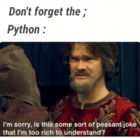 Sorry, Peasant, and Python: Don't forget the;  Python:  I'm sorry, is this some sort of peasant joke  that I'm too rich to understand? What are the ; !!?