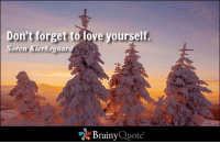 Don't forget to love yourself. - Soren Kierkegaard https://www.brainyquote.com/quotes/authors/s/soren_kierkegaard.html #love #brainyquote #QOTD: Don't forget to love yourself  Soren Kierkegaar  Brainy  Quote Don't forget to love yourself. - Soren Kierkegaard https://www.brainyquote.com/quotes/authors/s/soren_kierkegaard.html #love #brainyquote #QOTD