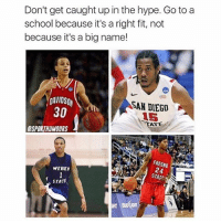 All superstars 🔥: Don't get caught up in the hype. Go to a  school because it's a right fit, not  because it's a big name!  DAVIDSO  SAN DIEGO  30  ATE  ESPORTHUMOURS  FRESNO  WEBER  24  STATE All superstars 🔥