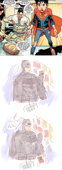 drenched-in-sunlight: clark why: DON'T GET SHORT  OR I'LL TURN YOUR  SUPER-BUTT RIGHT  AROUND.  REMEMBER,  BACK BY 10 P.M.  ON THE DOT.  Aww,  COME ON,  IT'S FRIDAY--  DAMIAN'S DAD  LETS HIM STAY  OUT ALL  NIGHT.  SORRY  MOM  DAMIAN'S DAD  DRESSES LIKE A BAT  AND GETS HIT IN THE  HEAD 28 TIMES EVERY  NIGHT. SO MAYBE  NOT THE BEST  ARGUMENT drenched-in-sunlight: clark why