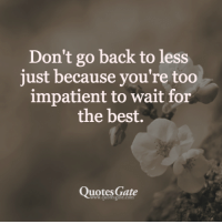 best quotes: Don't go back to less  just because you're too  impatient to wait for  the best.  Quotes Gate  www.quotesgate.com