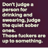 Drinking, Memes, and Quiet: Don't judge a  person for  drinking and  swearina.iudge  the quiet sober  ones  Those fuckers are  up to something