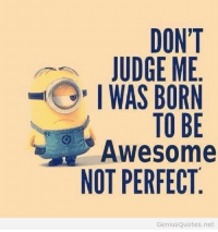 Haha yes! ..HB: DON'T  JUDGE ME  I WAS BORN  TO BE  Awesome  NOT PERFECT  Genius  Quotes.net Haha yes! ..HB