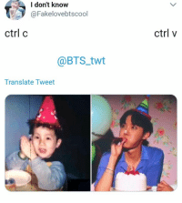 Translate, Bts, and Tweet: don't know  @Fakelovebtscool  ctrl c  ctrl v  @BTS twt  Translate Tweet #bts #jhope