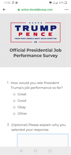 """Don't know if this is the appropriate sub for this, but this is the """"official performance poll"""" released by the Trump administration. Isn't this one of the tenets of fascism?: Don't know if this is the appropriate sub for this, but this is the """"official performance poll"""" released by the Trump administration. Isn't this one of the tenets of fascism?"""