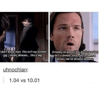 Memes, Supernatural, and Been: don't know,man. This isn't our normal  gig. Imean, demons... This is big.  Crowley on phonel You don't carethat  he's a demon Heck, youvebeena  demon. We've all been demons  uhnochian:  1.04 vs 10.01 oh how things have changed :) supernatural