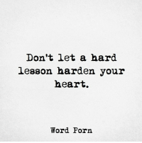 Word Porn: Don't let a hard  lesson harden your  heart.  Word Porn Word Porn