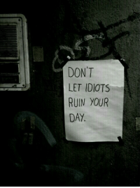 Day, Ruin Your Day, and Idiots: DON'T  LET IDIOTS  RUIN YOUR  DAY