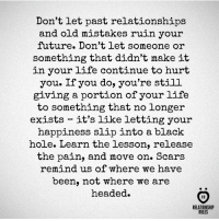 Future, Life, and Relationships: Don't let past relationships  and old mistakes ruin your  future. Don't let someone or  something that didn't make it  in your life continue to hurt  you. If you do, you're still  giving a portion of your life  to something that no longer  exists-it's like letting your  happiness slip into a black  hole. Learn the lesson, release  the pain, and move on. Scars  remind us of where we have  been, not where we are  headed.  RELATIONSHIP  RULES