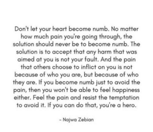 Your Fault: Don't let your heart become numb. No matter  how much pain you're going through, the  solution should never be to become numb. The  solution is to accept that any harm that was  aimed at you is not your fault. And the pain  that others choose to inflict on you is not  because of who you are, but because of who  they are. If you become numb just to avoid the  pain, then you won't be able to feel happiness  either. Feel the pain and resist the temptation  to avoid it. If you can do that, you're a hero  Najwa Zebian