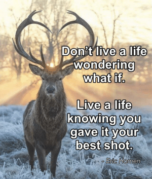 Life, Best, and Image: Don't live a life  wondering  what if.  Live a life  knowing you  gave it your  best shot.  Eric Homen [Image] No regrets.