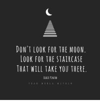 Memes, 🤖, and Step: DONT LOOK FOR THE MOON  LOOK FOR THE STAIRCASE  THAT WILL TAKE YOU THERE  EDDIE PINERO  V I T H I N Success is created one step at a time. yourworldwithin -- Quote by @eddiepinero2