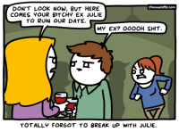URL--->http://www.channelate.com/2015/02/03/dont-look-now/ Bonus Panel--->http://www.channelate.com/extra-panel/20150203/: DON'T LOOK NOW, BUT HERE  A channelate.com  COMES YOUR BITCHY EX JULIE  TO RUIN OUR DATE.  MY EX? OOOOH SHIT  TOTALLY FORGOT TO BREAK UP WITH JULIE. URL--->http://www.channelate.com/2015/02/03/dont-look-now/ Bonus Panel--->http://www.channelate.com/extra-panel/20150203/