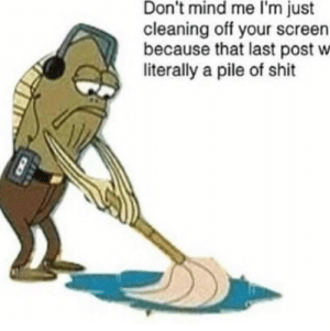 Shit, Mind, and Post: Don't mind me I'm just  cleaning off your screen  because that last post w  literally a pile of shit Me🤠irl