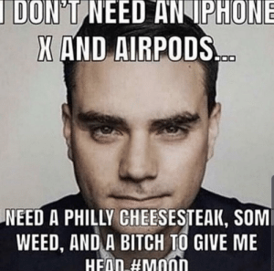 Bitch, Head, and Iphone: DON'T NEED AN IPHONE  X AND AIRPODS  NEED A PHILLY CHEESESTEAK, SOM  WEED, AND A BITCH TO GIVE ME  HEAD #mood