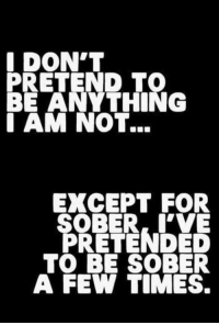 Lol, Sober, and Been: DON'T  PRETEND TO  BE ANYTHING  AM NOT...  EXCEPT FOR  SOBER, VE  PRETENDED  TO BE SOBER  A FEW TIMES. We've all been there
