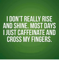 #jussayin: DON'T REALLY RISE  AND SHINE. MOST DAYS  I JUST CAFFEINATE AND  CROSS MY FINGERS #jussayin
