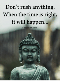 Buddhism: Don't rush anything  When the time is right,  it will happen...  e-buddhism com