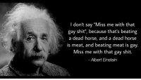 """Albert Einstein, Shit, and Einstein: don't say """"Miss me with that  gay shit"""", because that's beating  a dead horse, and a dead horse  is meat, and beating meat is gay  Miss me with that gay shit.  Albert Einstein"""
