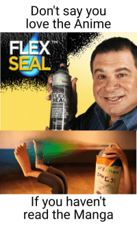 Anime, Flexing, and Love: Don't say you  love the Anime  FLEX  SEAL  TM  FLEX  SEAL  SPRA Y-ON  SH  If you haven't  read the Manga WE LIVE IN A FLEX-CIETY