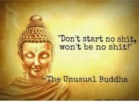 "True enough: ""Don't start no shit,  won't be no shit!""  IThe Unusual Buddha True enough"